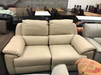 Real leather manual reclining 2 seater sofa