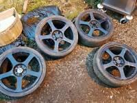 """Set of 17"""" alloy wheels 4x100 2x new tyres"""