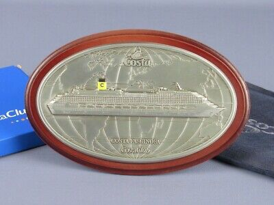 Costa Cruises Ship Fascinating Plaque Oval Plaque Oval on base Wood