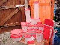 tupperware red containers in good condition quantity 25