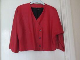 Ladies Italian red leather vintage jacket.