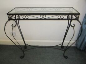 Decorative wrought iron hall telephone table with glass top