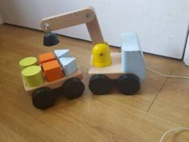 Wooden toy puzzle truck