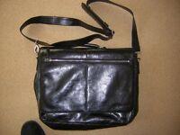 Cranford leather Black Brief Case/Laptop bag with strap