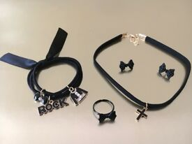 Black Rock Chic Set - Enamelled cross choker, Cool hair band, Bow tie design ring, Bow tie earrings