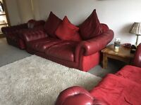 Sofa dark red leather Chesterfield