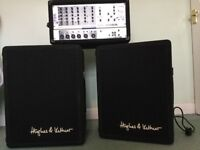 Phonic AMP 615 powered mixer. 2 x speakers Hughes & Kettner speakers, with leatherette covers, 12/2