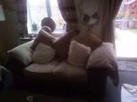 Large two seater sofa and large footstool feather filled ex con Dfs YB in