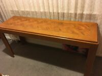 Classic 60s/70s console table / sideboard parquet (herringbone) oak table top