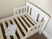 White Toddler Bed and mattress - Hardly used
