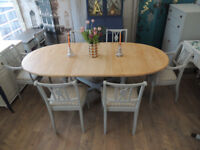Stunning shabby chic extending dining table and six chairs