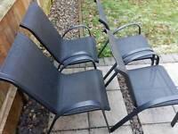 Table and Parasol (Homebase. Model - Andorra. 4 seater metal garden furniture set)
