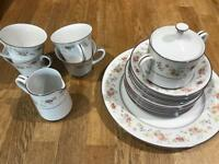 Noritake vintage fine china tea dining set plates retro floral wedding