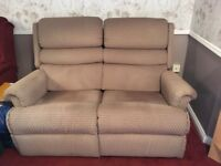 TWO SEAT BEIGE MANUAL RECLINER SOFA (VERY GOOD CONDITION) (BOTH SEATS FULLY RECLINE)