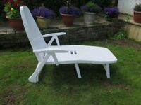 Lovely white sun lounger with cover