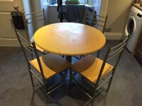 Pine Effect Circular Round Dining Table and 4 Chairs