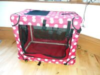 Pets at Home Fabric Dog or Cat Kennel, red spot plus Pets at Home bed