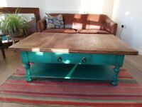 Reclaimed bespoke mangowood coffee table with teal accents