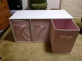 3 Drawer Pink Unit Storage System
