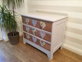 Restored solid wood chest of drawers