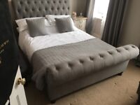 Grey upholstered sleigh bed - double with mattress