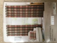 1 pair red Highland Check fully lined curtains