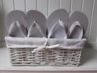 Wedding Flip Flops & White Wicker Basket - 20 Pairs
