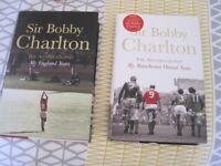 2 x Bobby Charlton hardback books - Man Utd and England