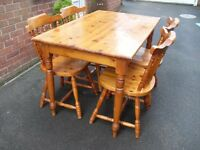 Pine Table and 4 chairs shabby chic