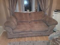 Mink fabric chord sofa + chair excellent condition