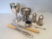 Collection of Fine Vintage Silver Plate Items | Goblet | Salt & Pepper | Mustard Pot | Posy Holder |