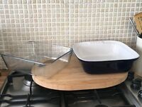 Pyrex baking dishes and cutting board