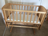 Mothercare Deluxe Glider Crib with Matress - Excellent Condition