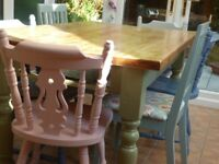 Table and Chairs. Solid wood. Up-cycled. Shabby Chic. Pastel colours.