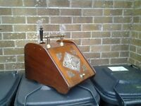 Antique wooden and brass coal scuttle