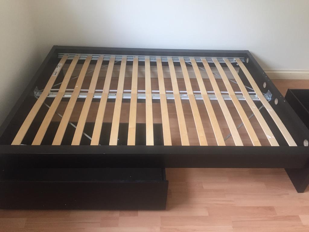 Black Ikea Malm Double Bed Frame Sliding Drawers