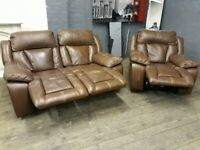 DESIGNER REAL LEATHAER ELECTRIC RECLINER 2 + 1 SEAT RECLINERS SOFA SET FREE DELIVERY
