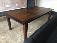 Very large solid wood dining table. Seats 6-10. 7ft 3ins x 3ft 8ins. Very good condition. £200
