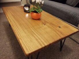 Solid oak coffee table, handmade, metal legs, live edges