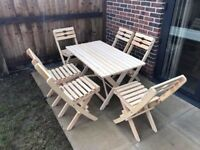 Garden table + 6 chairs wood