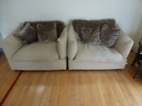 Pair of Linen look oversized chairs all covers fully removable & washable bought from Dubai