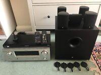 Denon + JBL home cinema system + Blu-ray player