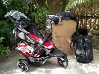 Phil & Teds v3 dot double buggy pram and cocoon and raincovers in chilli excellent cond