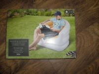 INFLATABLE INDOOR OUTDOOR LOUNGE CHAIR WHITE &BLUE TESCO BNIB.