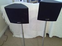 2 x Philips speakers and 2 chrome finish speaker stands