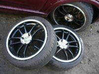 SPORT BLACK AND CHROME ALLOY WHEELS X 4, 195X45X16 AS NEW TYRES, VW, VAUXHALL, RENAULT ETC.