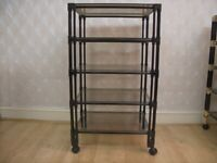 Black Glass Storage Shelves with Wheels (5 levels)