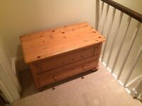 Wooden Chest - with large top section and draw