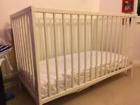 White IKEA baby cot + John Lewis mattress £50