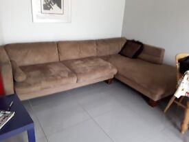 2 piece 'L' shaped sofa. Suede like fabric brown.